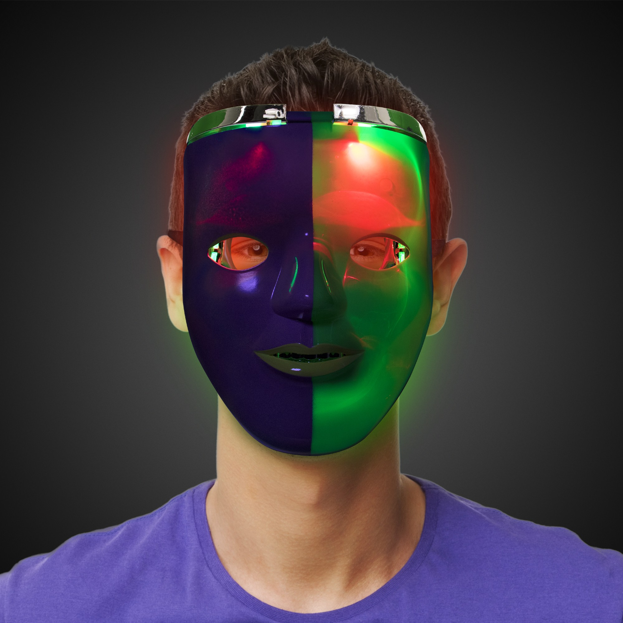 Mardi Gras LED Double Face Mask