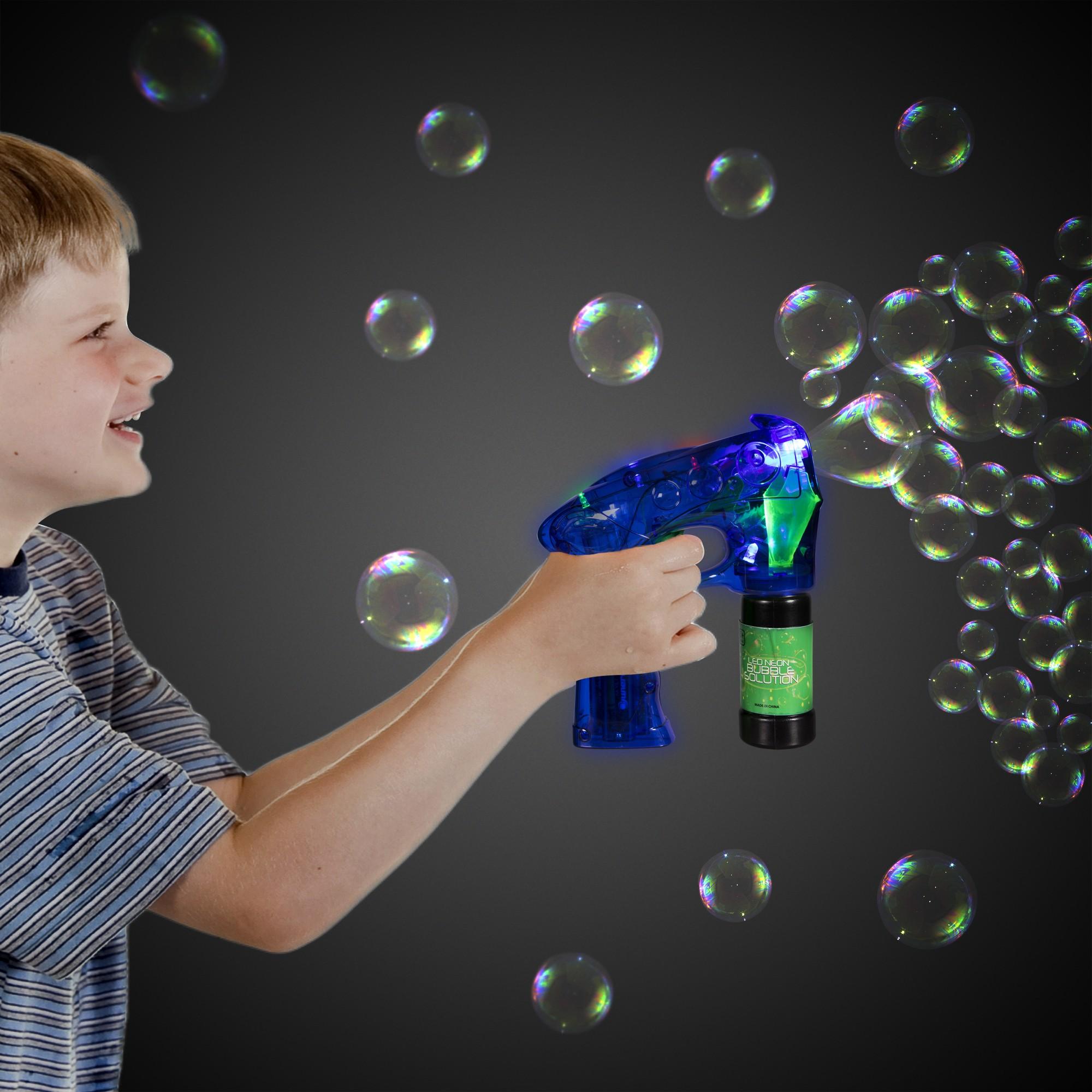 Neon Blue LED Bubble Gun