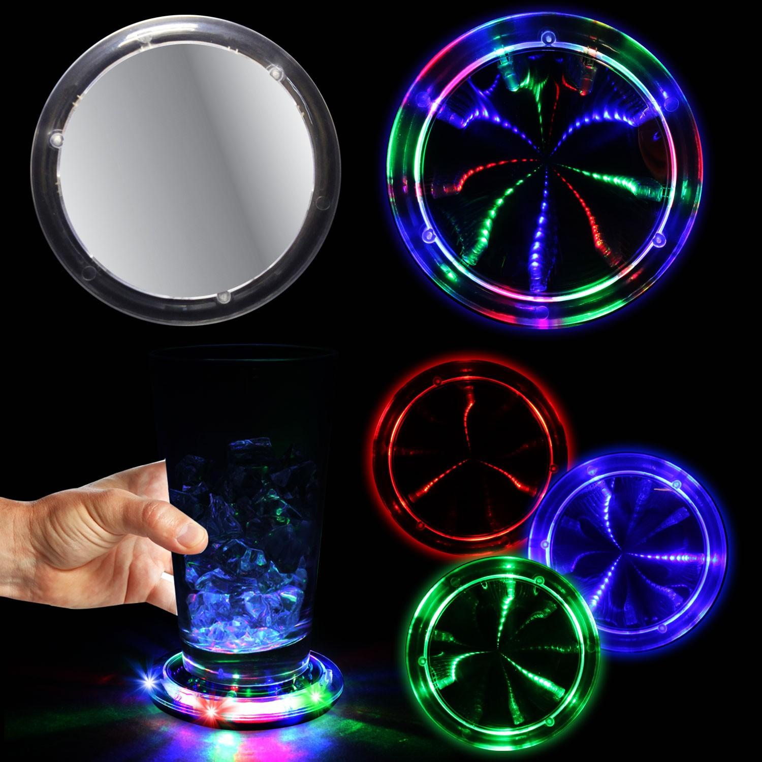 3 3 4 infinity fusion led coaster bar supplies drinkware - Lighted coaster ...