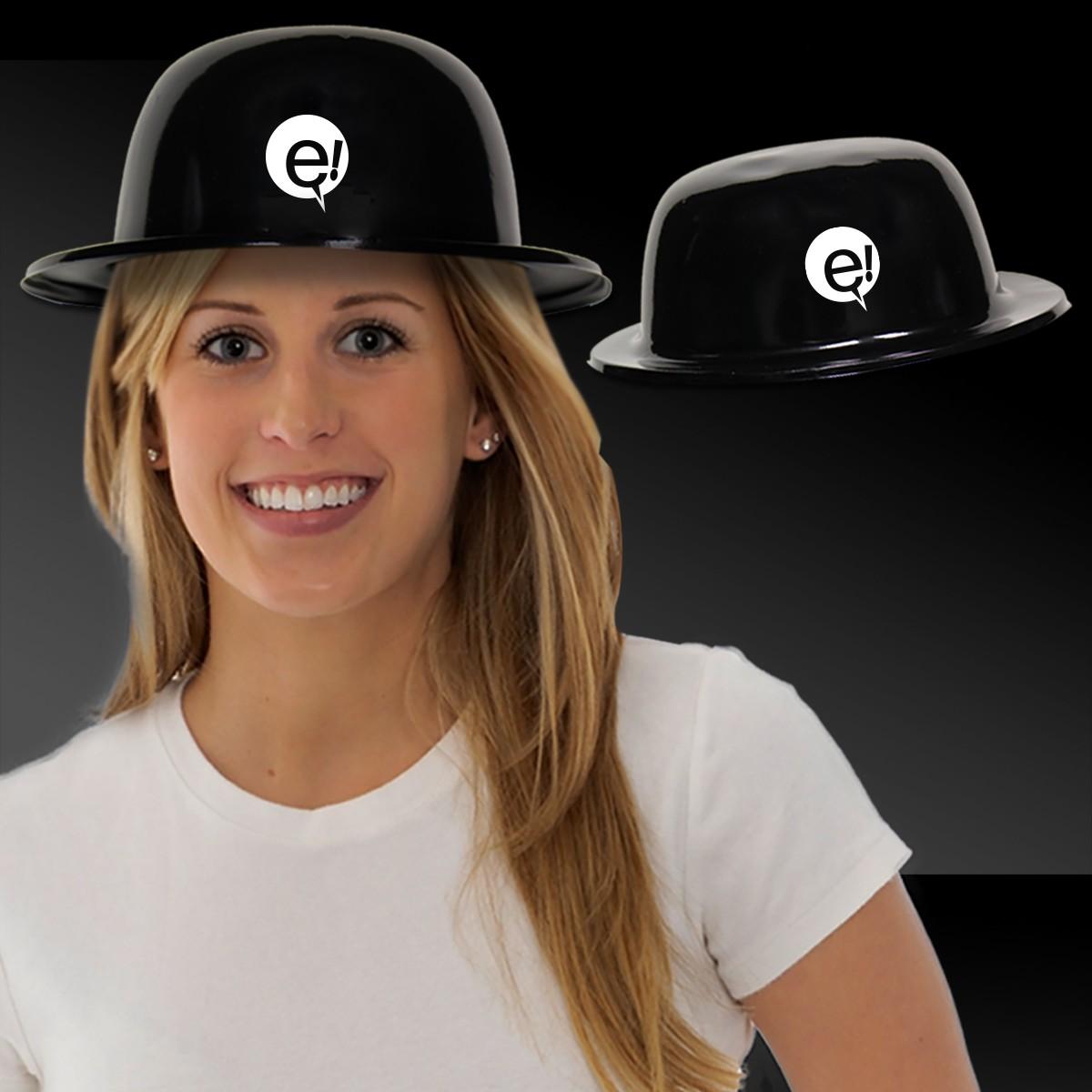 Black Plastic Derby Hat