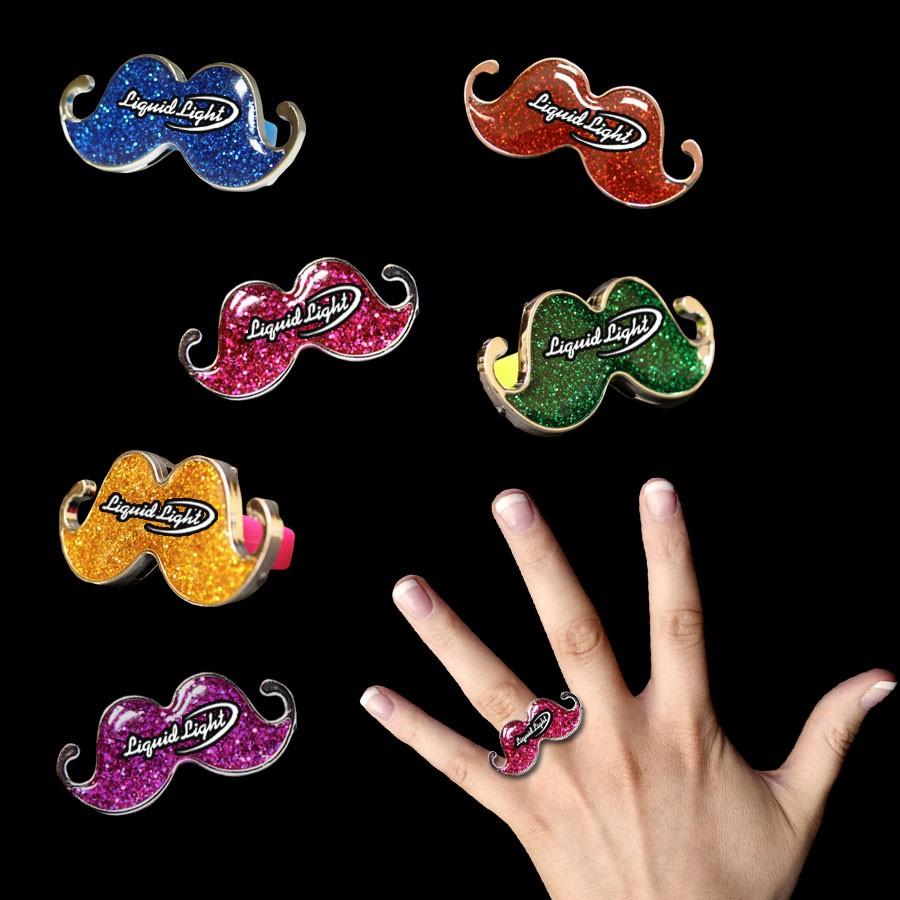 Plastic Glitter Mustache Rings