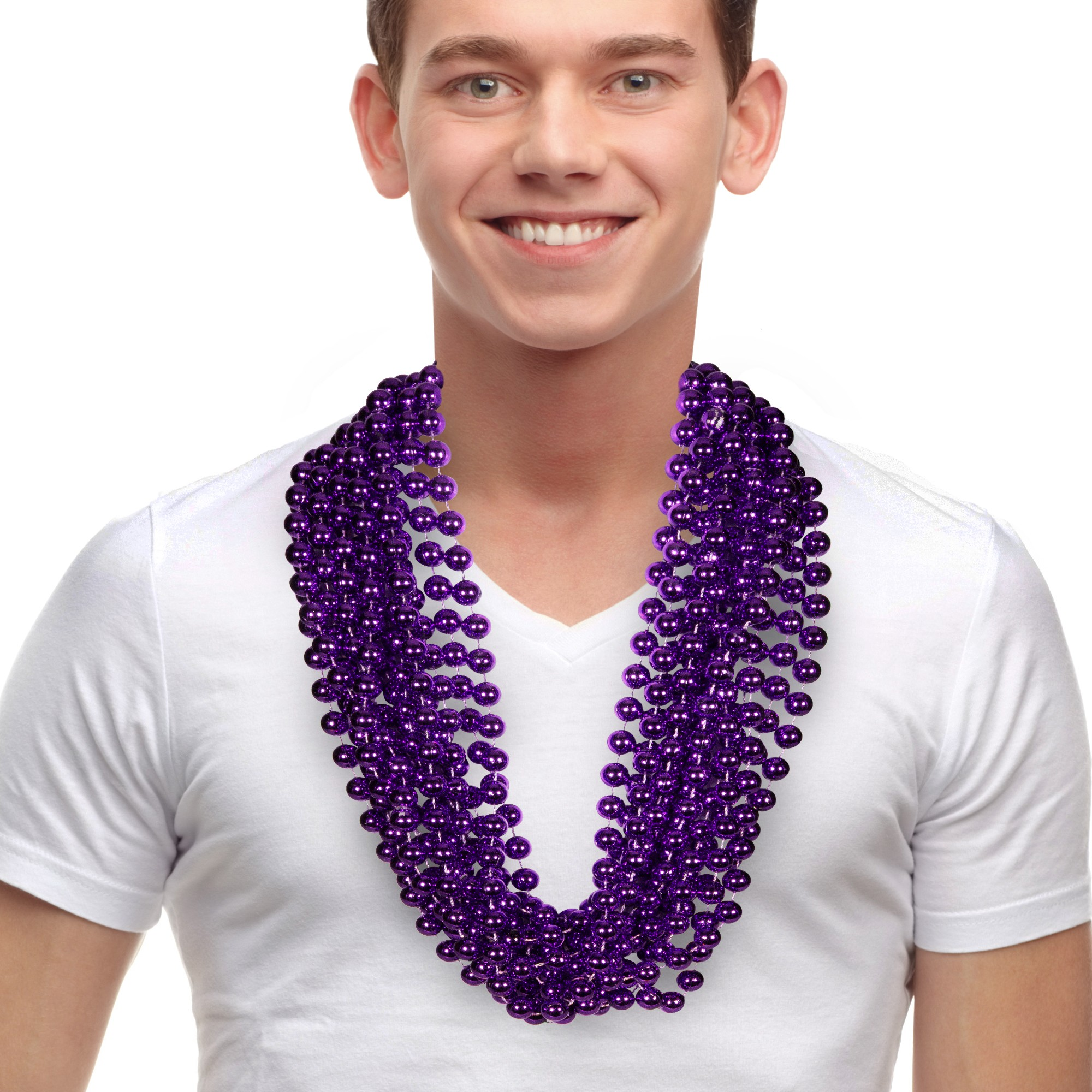 "Purple 33"" 12mm Bead Necklaces"