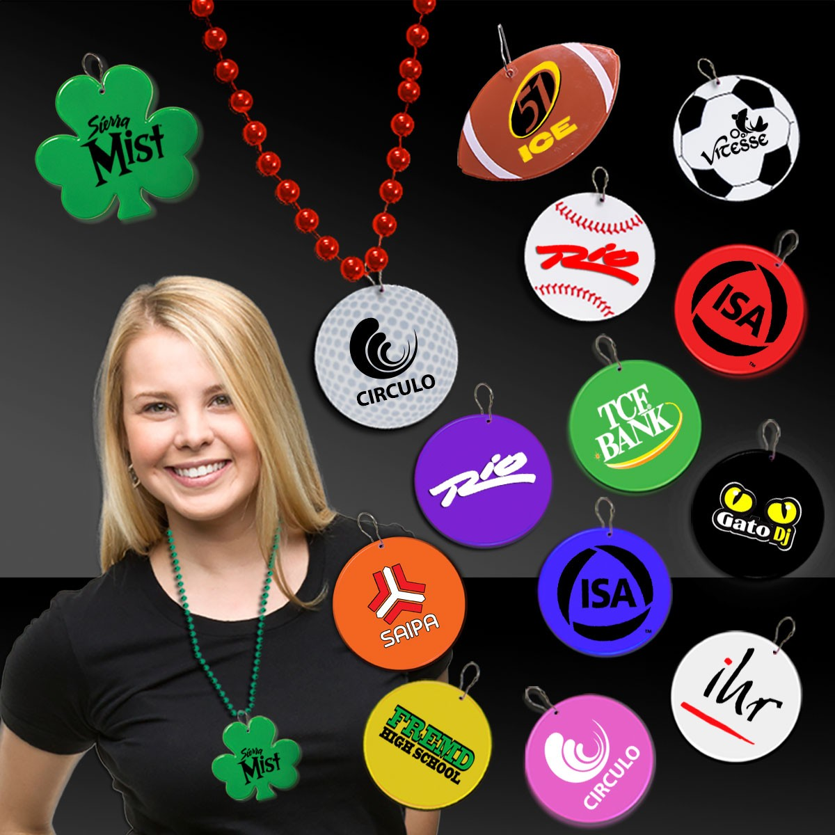 2 1/2 Inch Plastic Medallions for Mardi Gras Beads