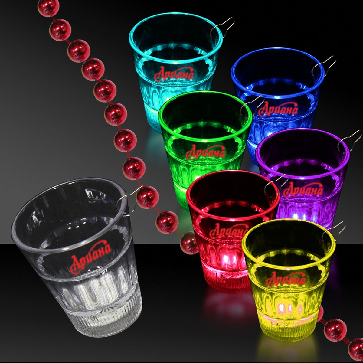 LED Multi Color 2 Ounce Shot Glass Medallion