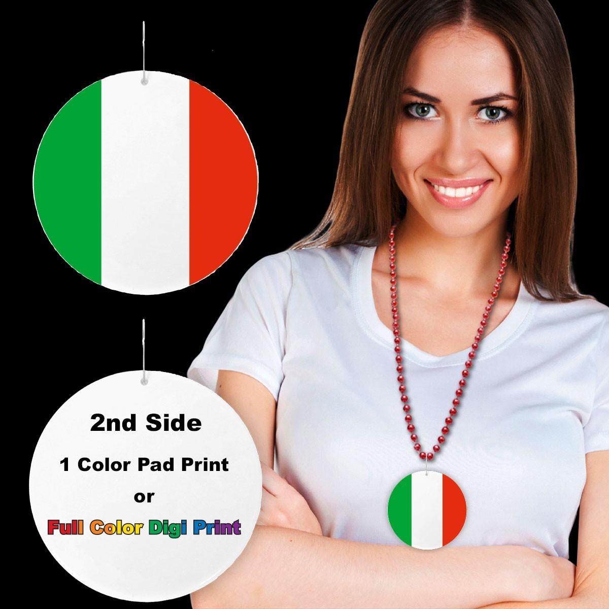"""Italian Flag Plastic Medallions - 2 1/2"""""""