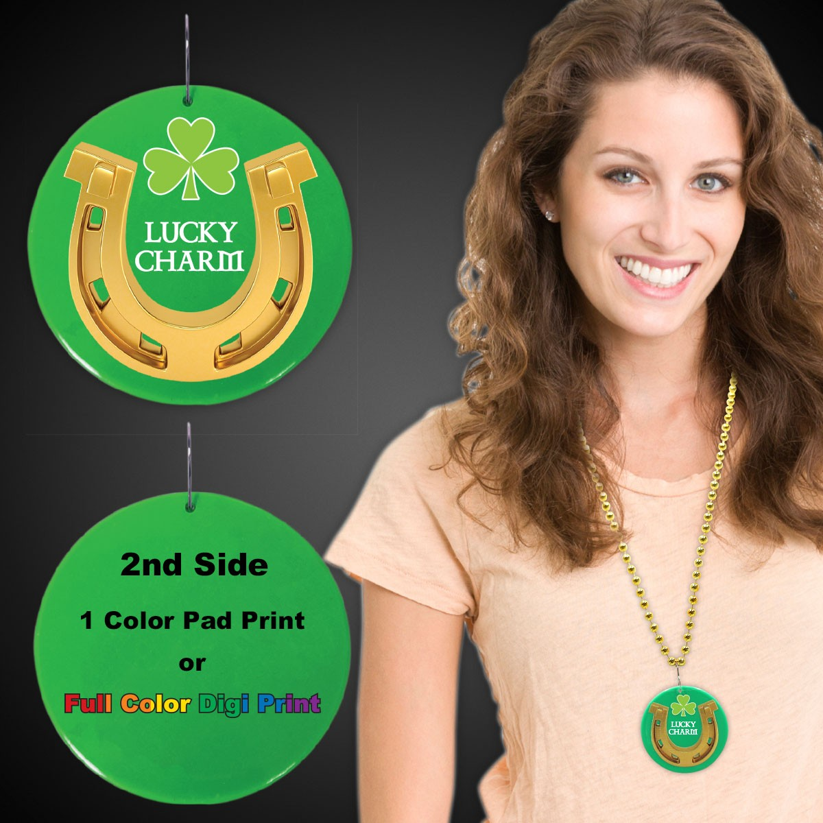 "St. Patrick's Lucky Charm Plastic Medallions<br>2 1/2""</br>"