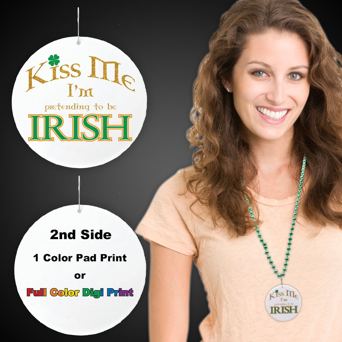 "Kiss Me I'm Irish Plastic Medallions<br>2 1/2""</br>"
