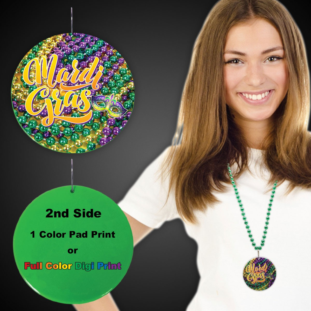 "Mardi Gras Beads Plastic Medallions<br>2 1/2""</br>"