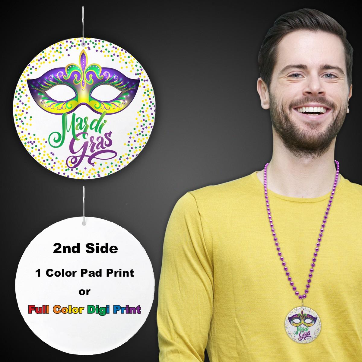 "Mardi Gras Mask Plastic Medallions<br>2 1/2""</br>"