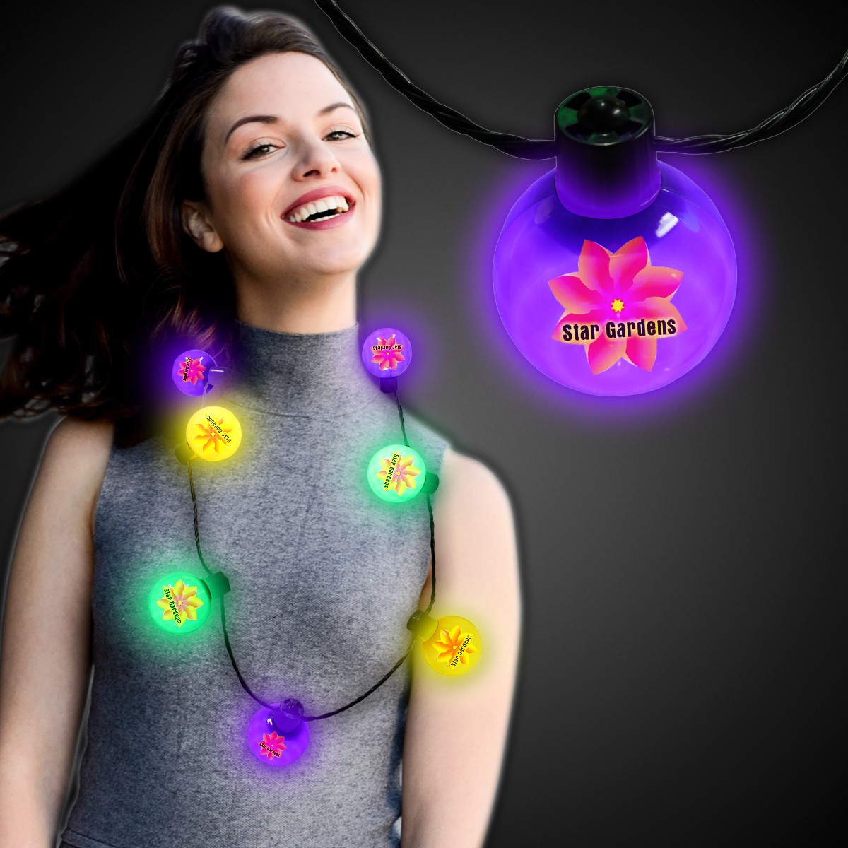 Mardi Gras LED Ball Necklace