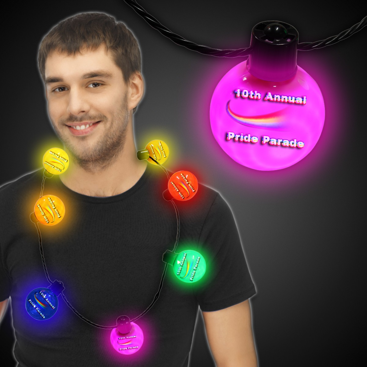 Rainbow LED Ball Necklace