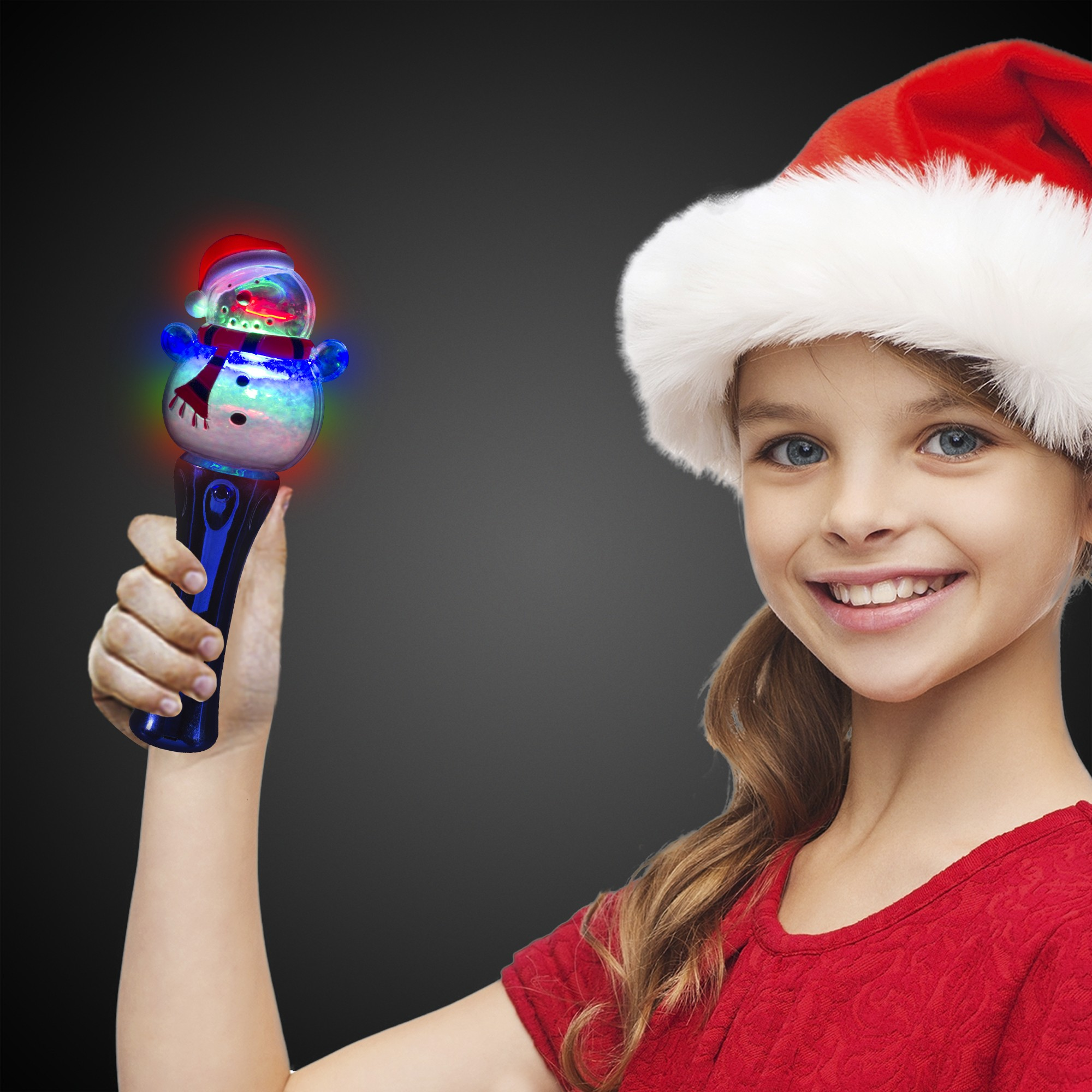 LED Snowman Spinner Wand