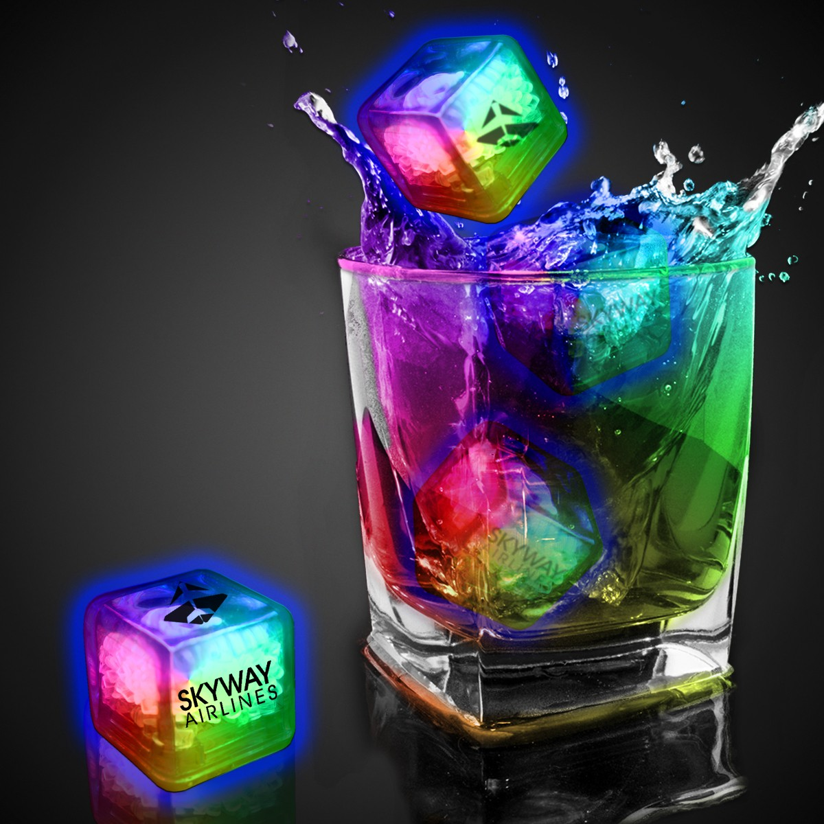 Imprinted Rainbow Liquid Activated Light Up Ice Cubes