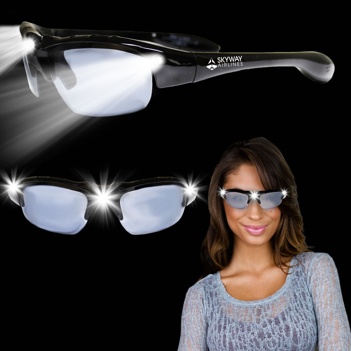 Black Wrap LED Sunglasses
