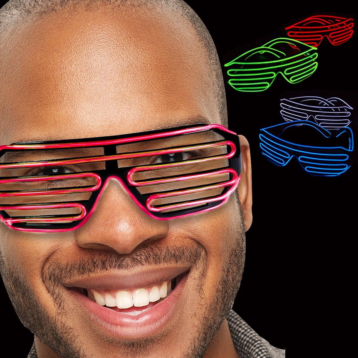 LED Slotted EL Sunglasses - Variety of Colors