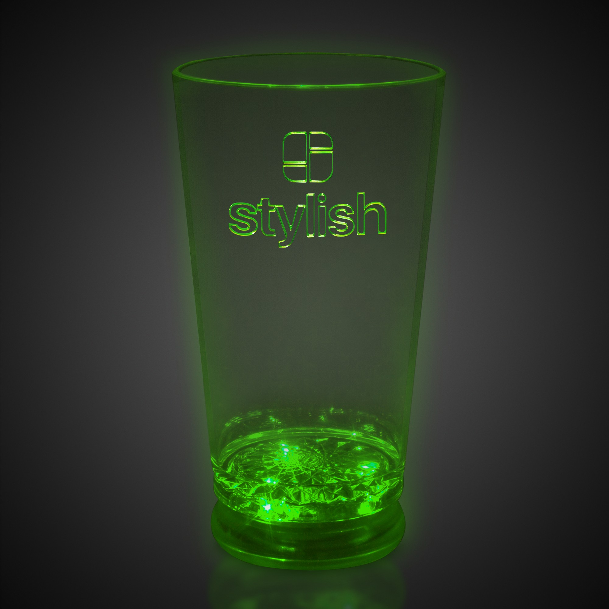 16 oz Green LED Pint Glass