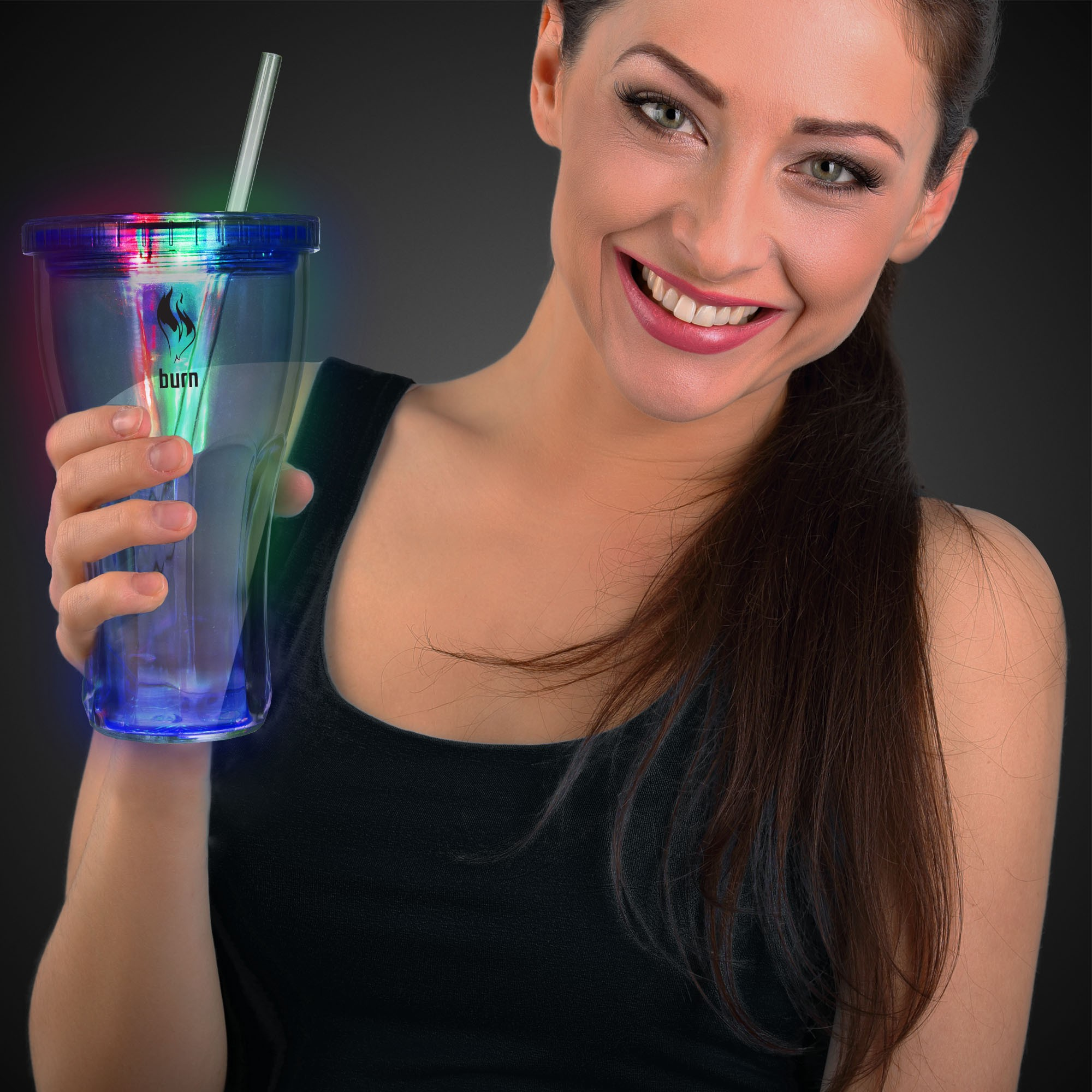LED Double Wall 16 oz Cola Glass