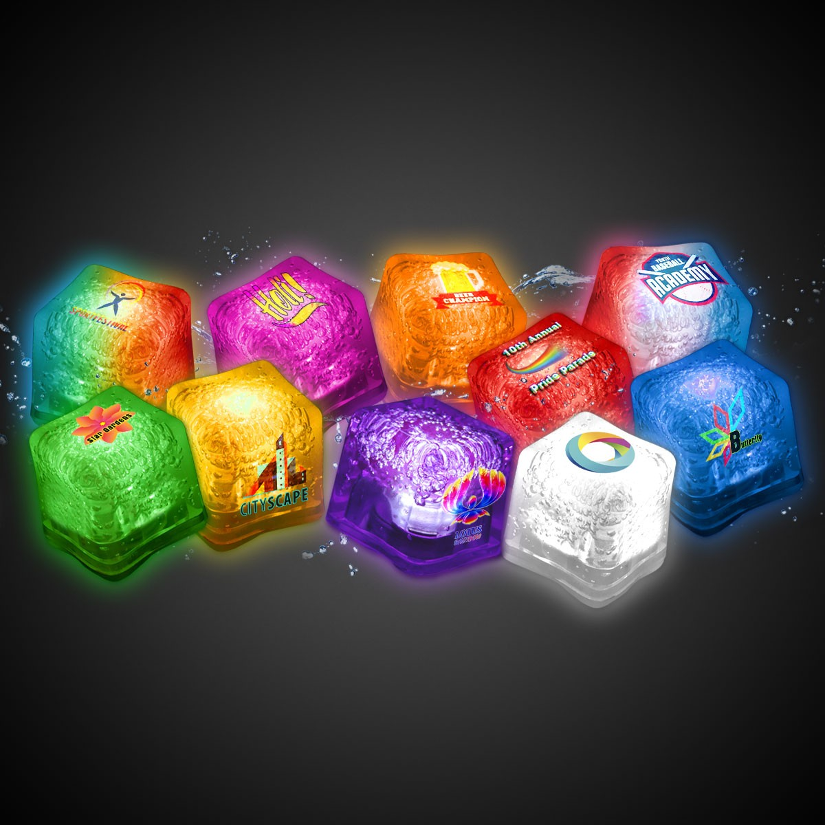 imprinted lited ice cubes variety of colors glow and light up products halloween holidays u0026 events