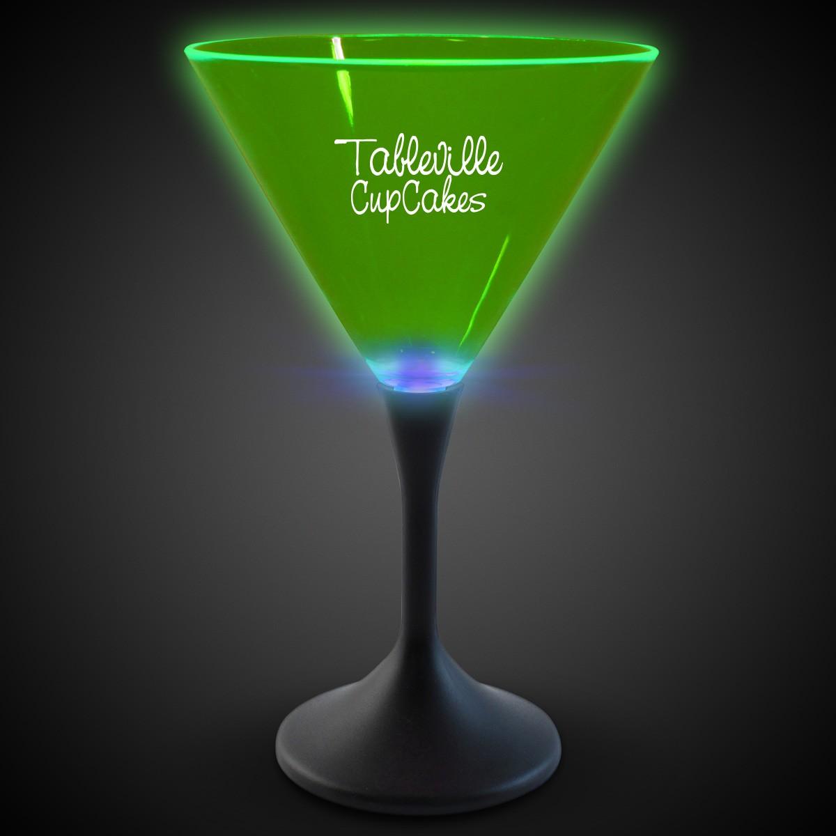 Green Neon LED Martini Glasses