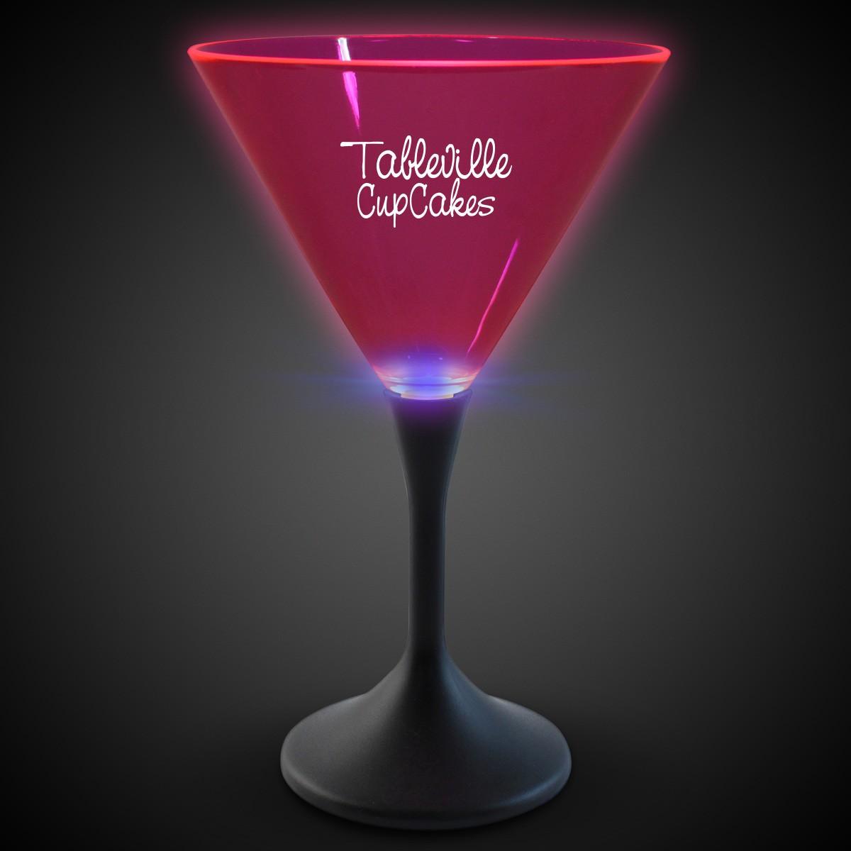 Pink Neon LED Martini Glasses