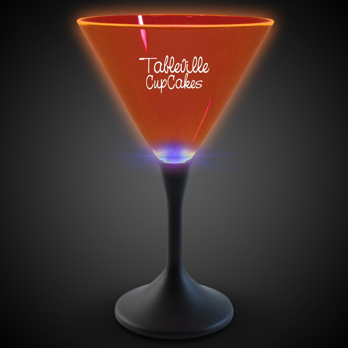 Orange Neon LED Martini Glasses