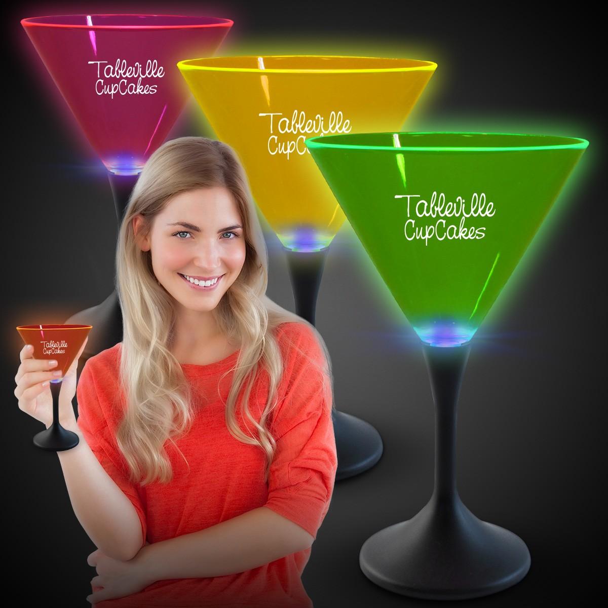 Neon LED 7oz Martini Glasses
