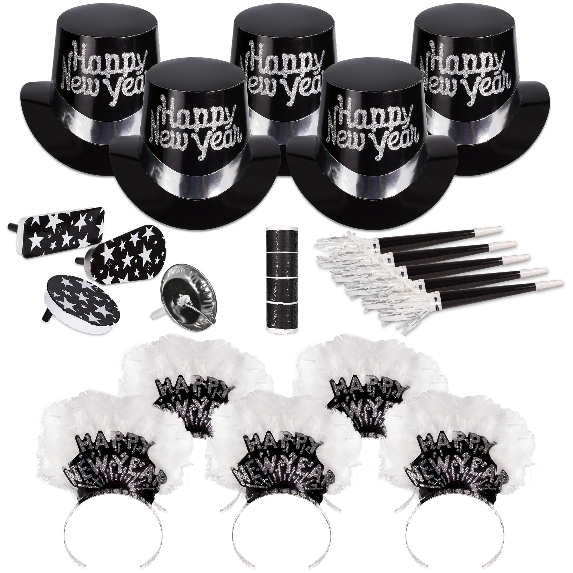 Grand Silver New Year's Eve Party Kit for 50 People