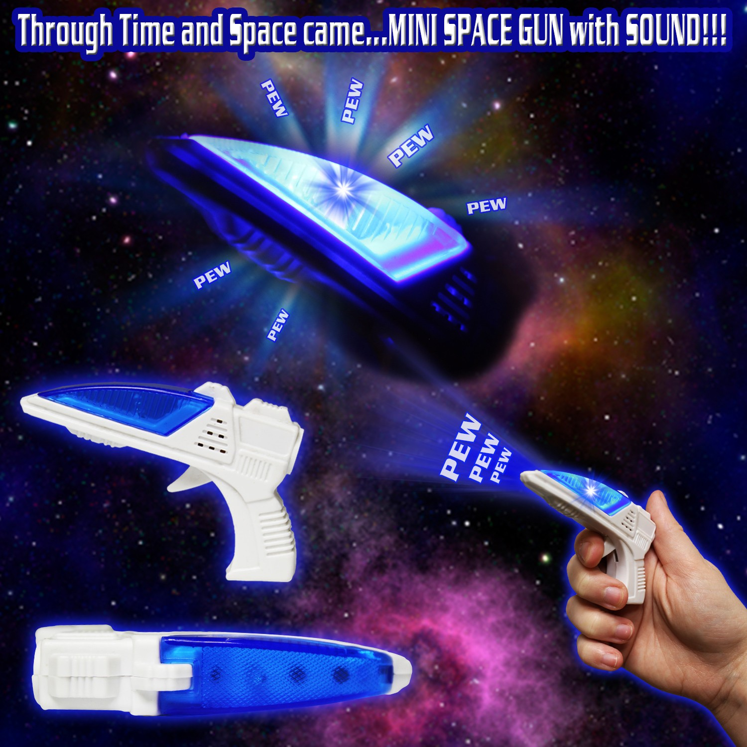 mini 3 1 2 inch light up space gun with sound light up novelties. Black Bedroom Furniture Sets. Home Design Ideas