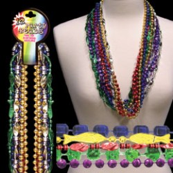 "Assorted Color 33"" Metallic Mardi Gras Beads"