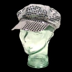Silver Sequin Newsboy Cap