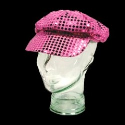 Pink Sequin Newsboy Cap