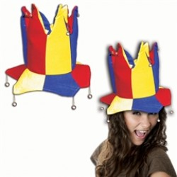 Red, Yellow and Blue Velvet Jester Hat