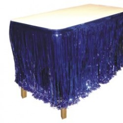 Blue Metallic Fringe Table Skirt