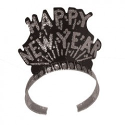 Happy New Year Black & Silver Tiaras