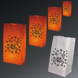 Skull and Crossbones Luminary Bags - 50 Pack