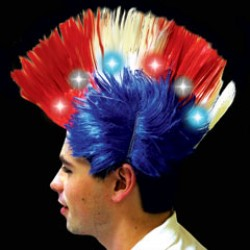 Red, White, and Blue Patriotic LED Mohawk Wig
