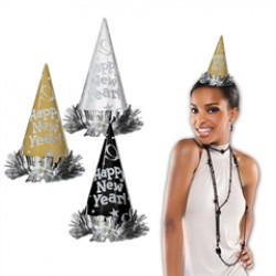 Happy New Year Glitter Cone Hats