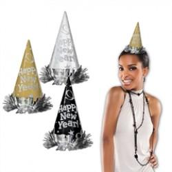 Happy New Year Glitter Cone Hats