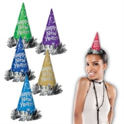Assorted Color New Year's Eve Glitter Cone Hats
