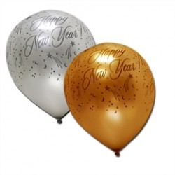 Silver and Gold Happy New Year Balloons