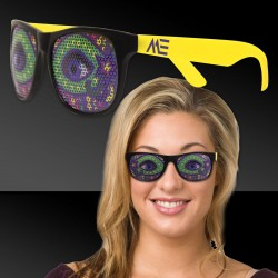 Neon Yellow Mardi Gras Eyes Billboard Sunglasses