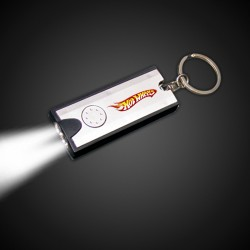 "2 1/2"" Silver Rectangle Light Up Key Chain Flashlight"