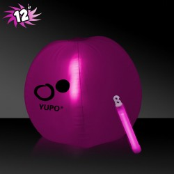12 Inch Inflatable Beach Balls with 1 - 6 Inch PINK Glow Stick