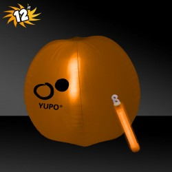 12 Inch Inflatable Beach Balls with 1 - 6 Inch ORANGE Glow Stick