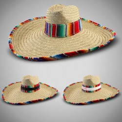 Giant Natural Straw Sombrero with Serape Trim  (Imprintable Bands Available)