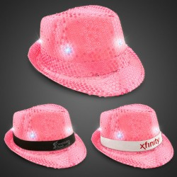 Neon Pink Light Up Sequin Fedora (Imprintable Bands Available)