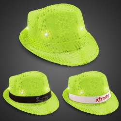 Neon Light Green Light Up Sequin Fedora (Imprintable Bands Available)