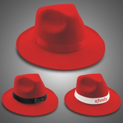 Red Felt Fedoras (Imprintable Bands Available)
