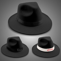 Black Felt Fedora (Imprintable Bands Available)
