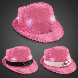 Pink Sequin LED Fedora Hats (Imprintable Bands Available)